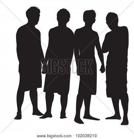 People, group of 4 men striking a pose, vector illustration