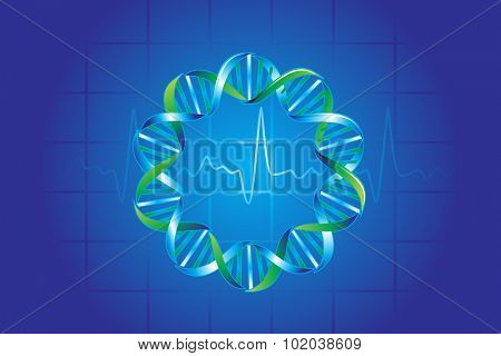 Medical symbols in blue showing DNA strand and pulse rate, vector illustration