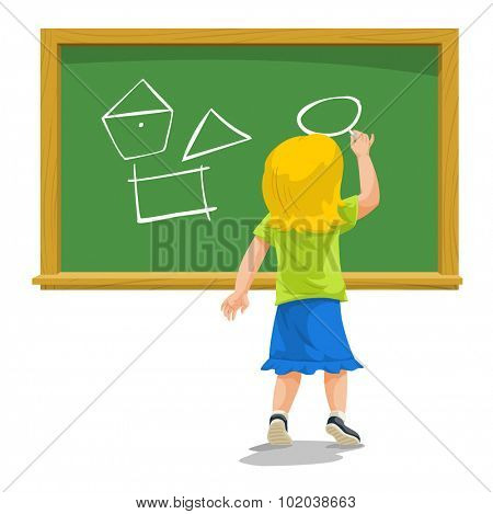 Education showing child drawing shapes on a chalkboard, vector illustration