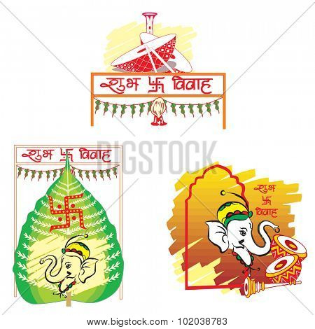 Shubh Vivah, Indian Wedding, the Betel Leaf symbolizes Prosperity, the Elephant symbolizes Wisdom, the Dhol Drums symbolizes Festive Music, vector illustration
