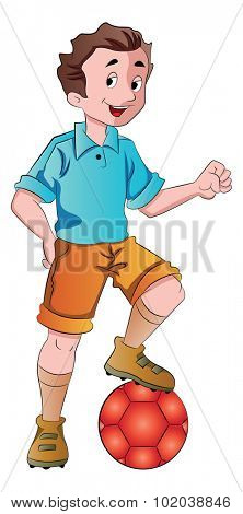 Young Man Playing Soccer, vector illustration