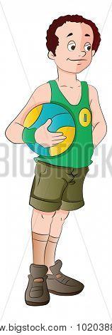 Man Holding a Basketball, vector illustration