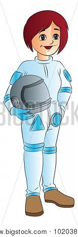 Young Female Racecar Driver, vector illustration