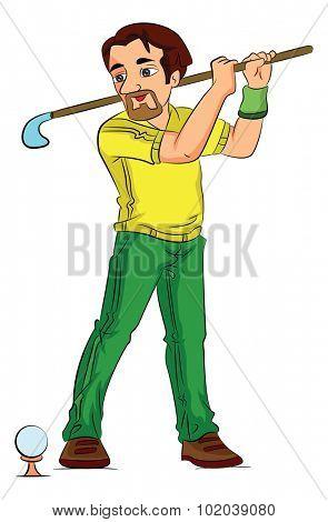 Man Playing Golf, vector illustration