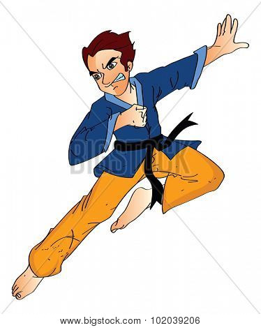 Man Doing a Flying Kick, vector illustration