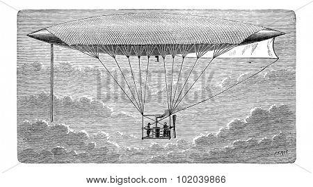 Aerostat, vintage engraved illustration. Industrial Encyclopedia - E.O. Lami - 1875