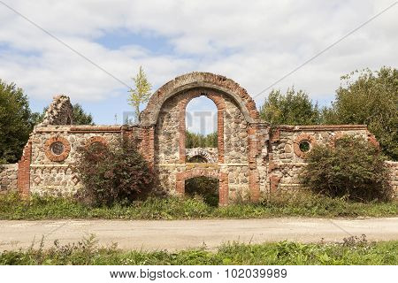 Ruins of the outbuildings of the estate of Baron Wrangel. Torosovo. Leningrad region. Russia.