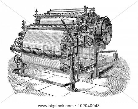 Paper Machine with Two Cylinders, vintage engraved illustration. Industrial Encyclopedia - E.O. Lami - 1875
