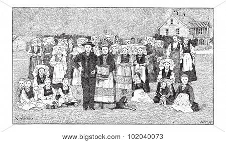 Norwegians, People from Norway, vintage engraved illustration. Dictionary of Words and Things - Larive and Fleury - 1895