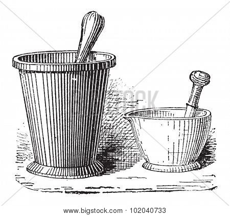 Mortar and Pestle, shown in two sizes, vintage engraved illustration. Dictionary of Words and Things - Larive and Fleury - 1895