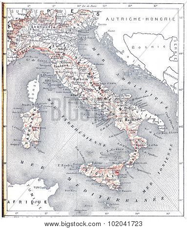 Topographical Map of Modern Italy, vintage engraved illustration. Dictionary of Words and Things - Larive and Fleury - 1895