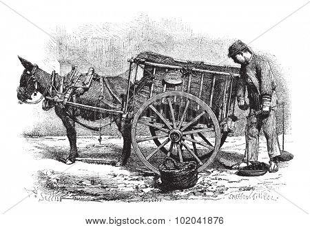 Coal Merchant with horse-drawn (donkey) cart in Valencia, Spain, vintage engraved illustration. Le Magasin Pittoresque - 1874