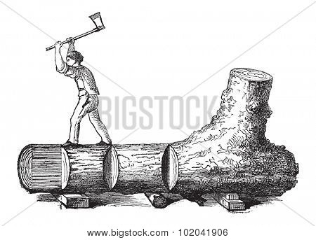 How a Tree is Made into Lumber - lumberjack cutting a tree trunk into rectangular sections, vintage engraved illustration. Le Magasin Pittoresque - 1874