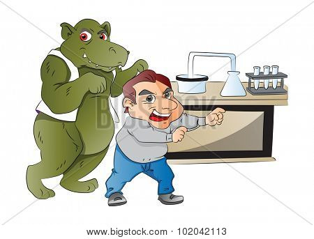 Animal Imitating a Man in a Laboratory, vector illustration. Dr. Jekyll and Mr. Hyde