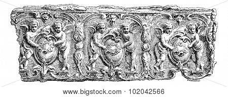 Fragment of a Sarcophagus found at the Necropolis of Hanaoueh near Tyre, Lebanon, vintage engraved illustration. Le Tour du Monde, Travel Journal, 1881 poster