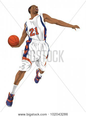 Vector illustration of aggressive basketball player going for a slam dunk. poster