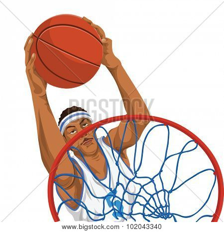 Vector illustration of basketball player throws the ball in basket.