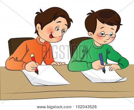 Vector illustration of boy copying from other student's paper during examination.