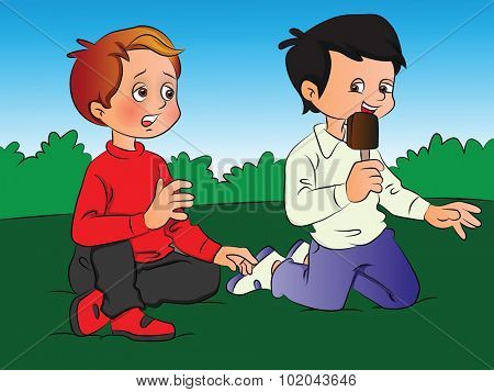 Vector illustration of a boy teasing his friend for ice cream.