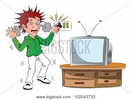 Vector of boy receiving an electric shock while touching television switch after short circuit.