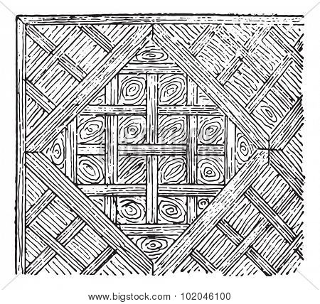 Parquet in compartments, vintage engraved illustration. Dictionary of words and things - Larive and Fleury - 1895.