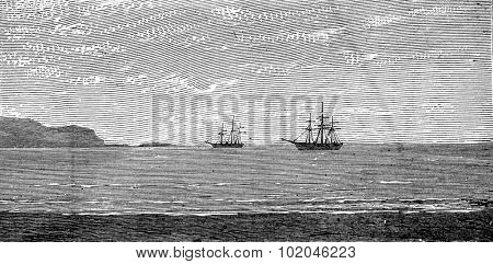 The harbor of Panama, vintage engraved illustration. Journal des Voyages, Travel Journal, (1879-80).
