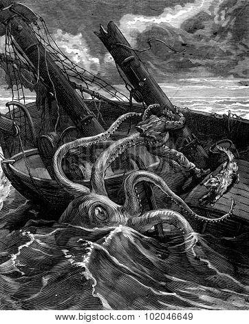 Narcissus Nicaise perilous adventures in the Congo. He had before him a fearsome sea monster, vintage engraved illustration. Journal des Voyage, Travel Journal, (1880-81). poster