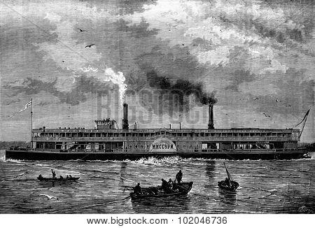 Floating houses. The Steamship Russian MNCCYPN, vintage engraved illustration. Journal des Voyages, Travel Journal, (1880-81).