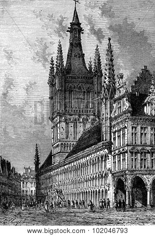 The Town Hall of Ypres, vintage engraved illustration. Journal des Voyage, Travel Journal, (1880-81).
