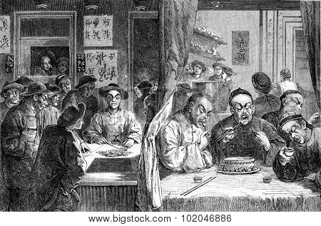 Opium smokers in China, vintage engraved illustration. Journal des Voyage, Travel Journal, (1880-81).