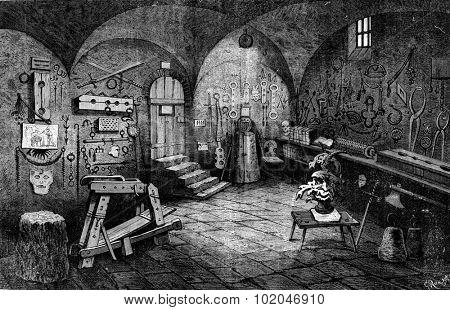 Nuremberg. Instruments of torture, vintage engraved illustration. Journal des Voyage, Travel Journal, (1880-81). poster