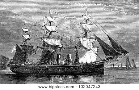 Life on board. A warship, vintage engraved illustration. Journal des Voyages, Travel Journal, (1879-80).