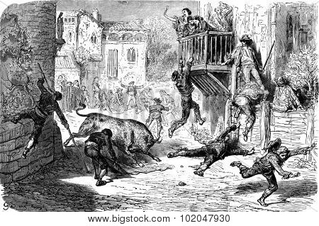A bullfight in lugar (novillos race in a village), vintage engraved illustration. Le Tour du Monde, Travel Journal, (1865).
