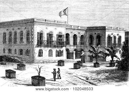Government House in Goree, vintage engraved illustration. Le Tour du Monde, Travel Journal, (1872).