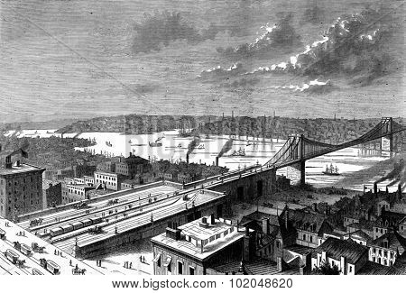Bridge New York, on the East River. View of the East river, vintage engraved illustration. Journal des Voyage, Travel Journal, (1879-80).