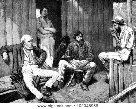 Memories of Mississippi. An old man sprawled on one of the layers of the cabin, vintage engraved illustration. Journal des Voyage, Travel Journal, (1879-80).