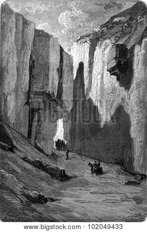 The Gargantas (gorges) Pancorbo, Former coach road, vintage engraved illustration. Le Tour du Monde, Travel Journal, (1872).