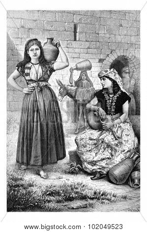 Hiram Wells in Tyre, in Lebanon, showing Tyrian Women with Jugs of Water, vintage engraved illustration. Le Tour du Monde, Travel Journal, 1881