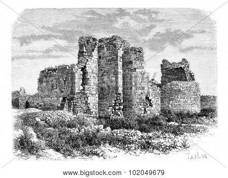 Crusader Cathedral Ruins in Tyre, Lebanon, vintage engraved illustration. Le Tour du Monde, Travel Journal, 1881