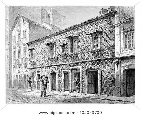House of the Spikes or Casa dos Bicos in Lisbon, Portugal, drawing by Barclay based on a photograph, vintage engraved illustration. Le Tour du Monde, Travel Journal, 1881
