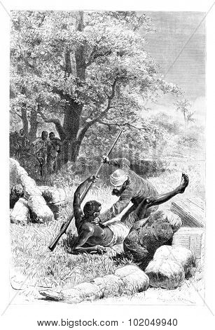 The Major Overpowers and Disarms Palanca, in Angola, Southern Africa, drawing by Bayard based on a sketch by Serpa Pinto, vintage engraved illustration. Le Tour du Monde, Travel Journal, 1881