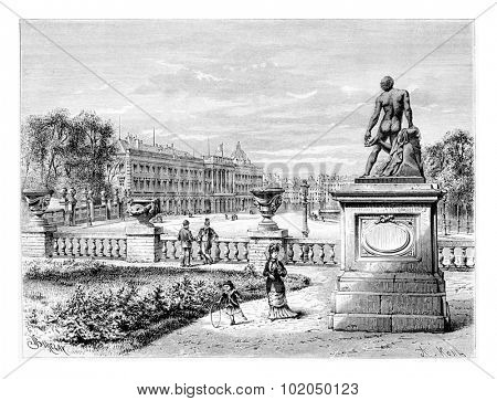 Royal Palace of Brussels in Brussels, Belgium, drawing by Barclay based on a photograph by Levy, vintage illustration. Le Tour du Monde, Travel Journal, 1881