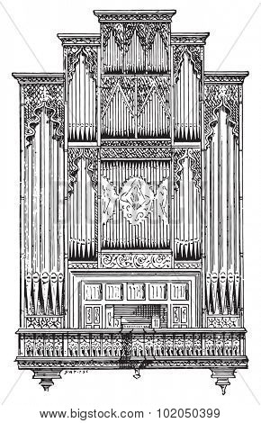 Organ of Perpignan Cathedral, vintage engraved illustration. Dictionary of words and things - Larive and Fleury - 1895.