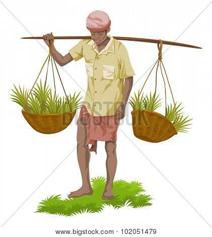 Vector illustration of street vegetable seller carrying vegetables baskets.