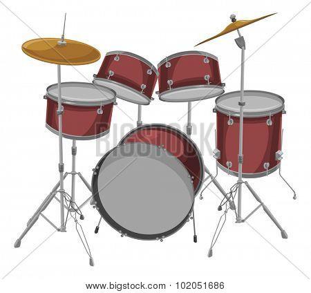 Vector illustration of drum kit.
