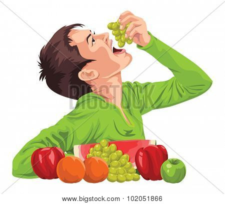 Vector illustration of a young boy eating fresh grapes.