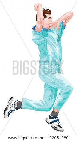Vector illustration of cricket bowler in action.