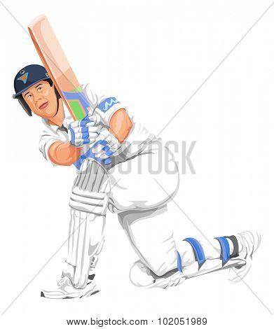 Vector illustration of cricket batsman in action.