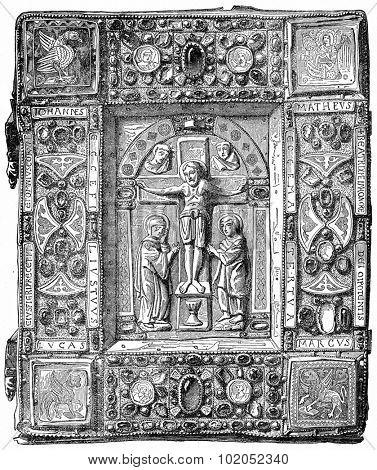 Binding gold, adorned with precious stones, a Gospel Book of the eleventh century, Louvre, vintage engraved illustration. Industrial encyclopedia E.-O. Lami - 1875.