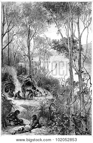 Their camp was in a bend of the river, vintage engraved illustration. Jules Verne Mistress Branican, 1891. poster